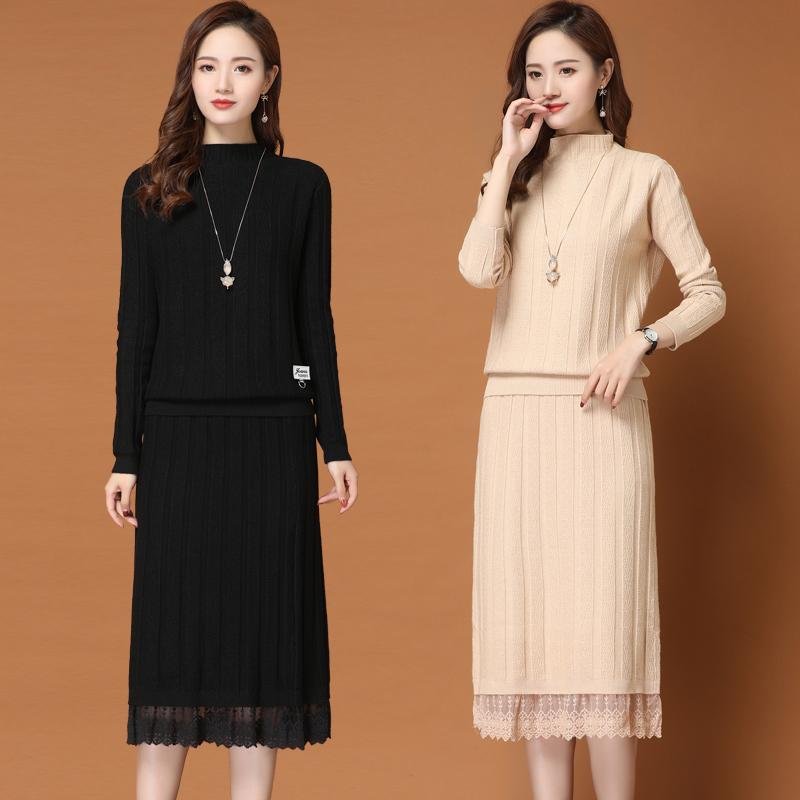 女士毛衣针织连衣裙秋冬长款妈妈装过膝2020春装新款蕾丝两件套装
