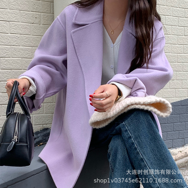 Xiaoxiangzi college style waistless Korean loose suit collar Lapel long sleeve temperament commuter solid color coat