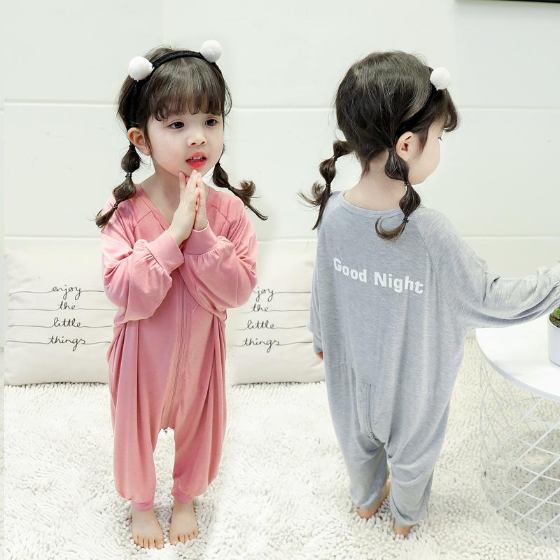 小女孩睡衣婴儿莫代尔连体衣春秋季纯棉恒温睡袋男女童睡衣