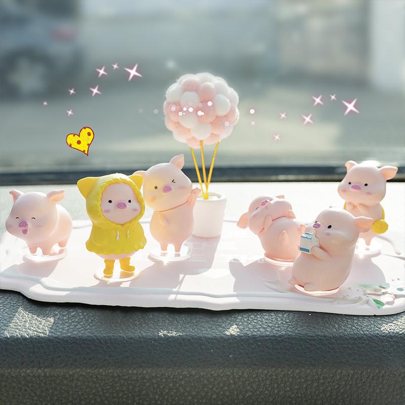 创意可爱女神款小猪公仔汽车摆件个性高档汽车内饰用品摆件网红款