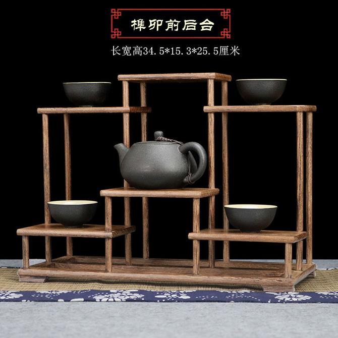多宝阁茶壶茶具置物架 摆件底座展示架 小博古架榫卯鸡翅实木中式
