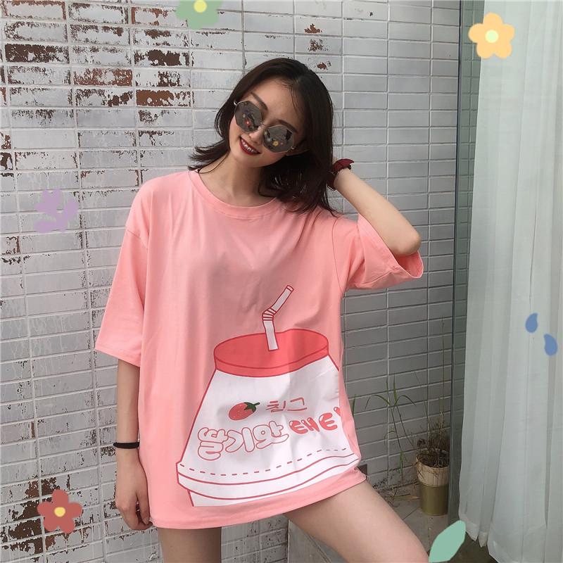 2019夏季韩版超可爱牛奶瓶印花休闲百搭休闲圆领短袖T恤女上衣潮