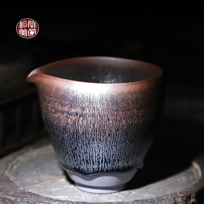 建阳名家陈国飞银毫建盏公道杯纯手工铁胎茶具单个茶海-东湖银毫(梅兰竹菊旗舰店仅售1280元)