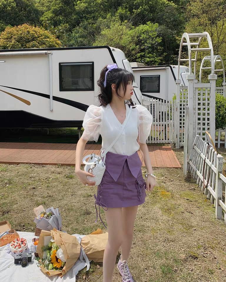 紫色半身裙女春2020年夏季新款韓版a字高腰包臀短裙背帶裙中長款