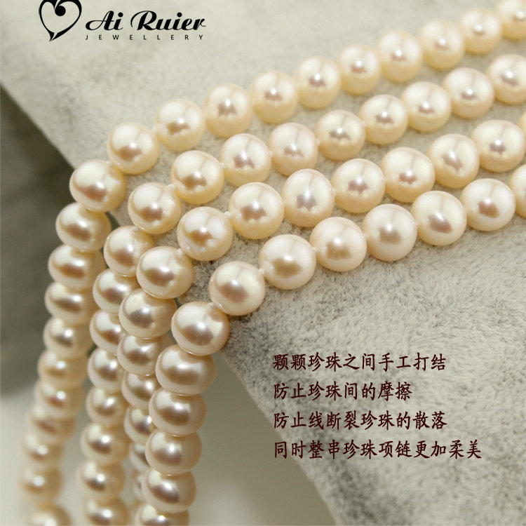 New Korean pearl necklace imitation pearl chain jewelry necklace props jewelry necklace glass lacquer imitation pearl