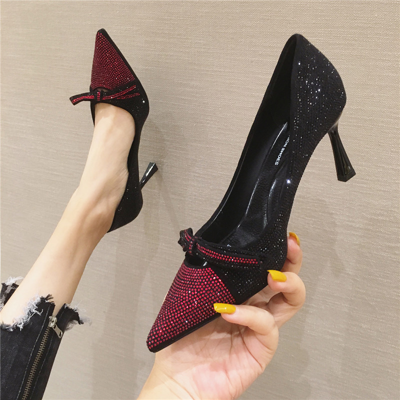 Bow tie hot drilling high heels 2020 new style pointed thin heel shallow mouth single shoe elegant fashion shining Princess womens shoe
