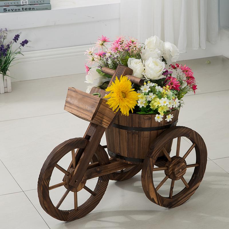 碳化防腐木制有篮三轮大花车花箱花盆花槽花车 可直接种花
