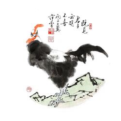 范曾 十二生肖34X34cm宣纸微喷打印国画名家字画复制画芯鼠猴鸡狗