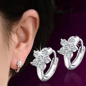正品925纯银耳环女 韩国时尚雪花耳扣小耳圈耳坠耳饰品防过敏包邮