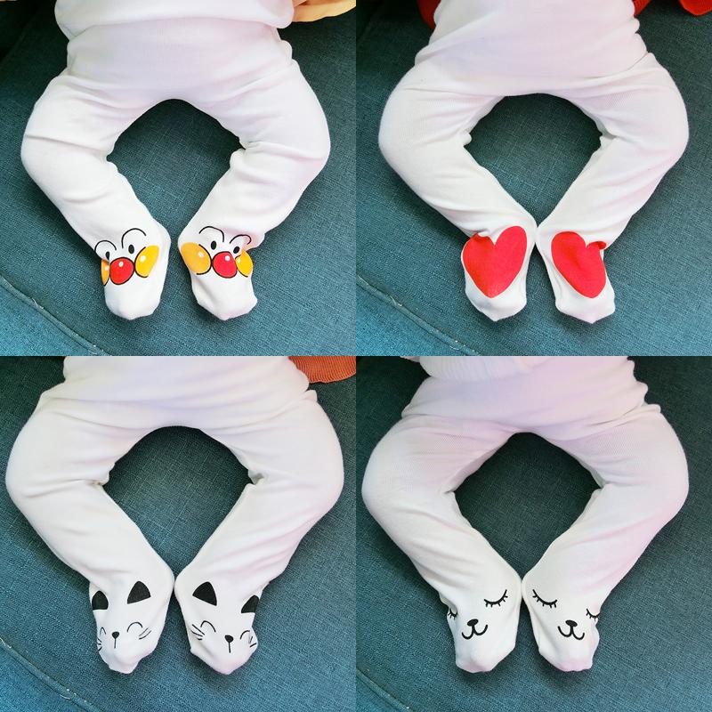 热销114件假一赔十韩版婴幼儿卡通图案包脚裤连裤袜