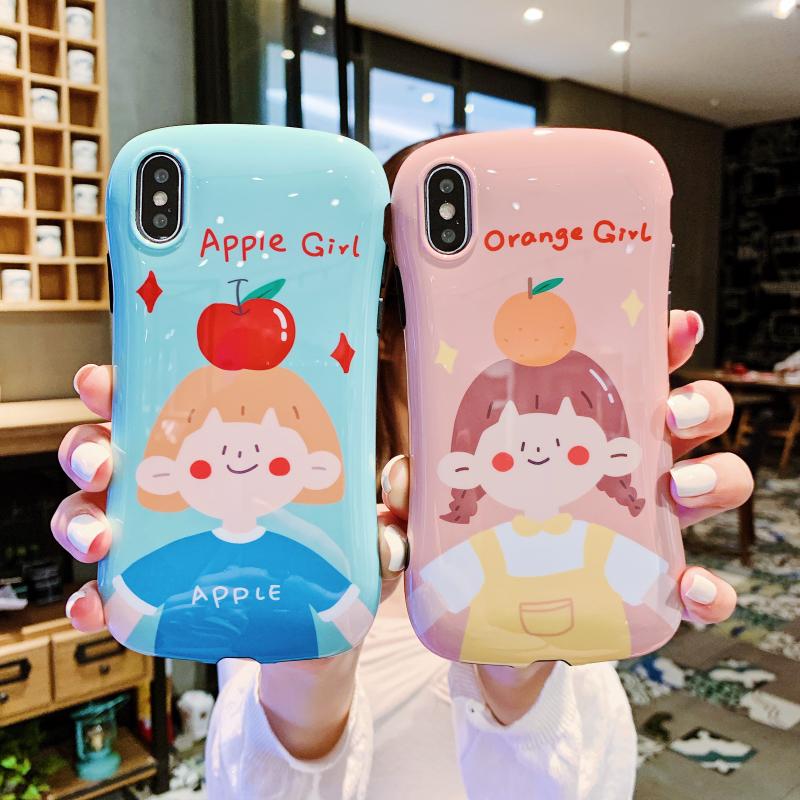 清新橘子女孩8plus苹果x手机壳XS Max/XR/iPhone7p/6s小蛮腰软套