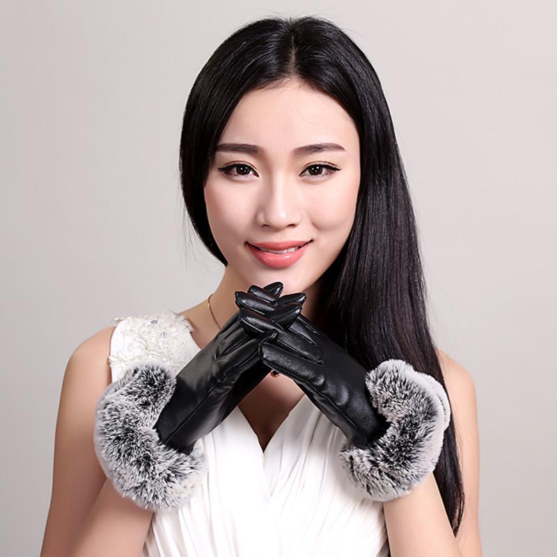 Кожаные перчатки женщина зимний с дополнительным слоем пуха сгущаться кожзаменитель перчатки женщина кролик сенсорный экран осенью и зимой верховая езда водитель защищать перчатки