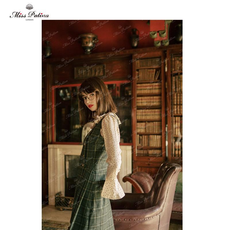 MP英伦复古原创设计 60年代摩登感苏格兰经典绿格呢子开扣背心裙