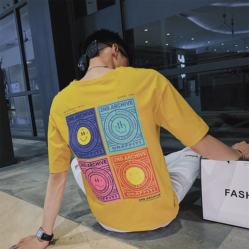 社会小伙夏季印花短袖T恤男纯棉吸汗透气针织衫C203-G5026P38控58