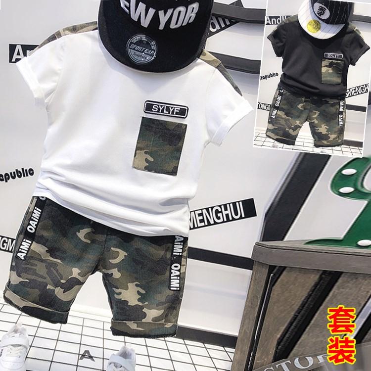 男童迷彩夏季套装童装韩版短袖T恤短裤两件套2018夏装新款E500 P