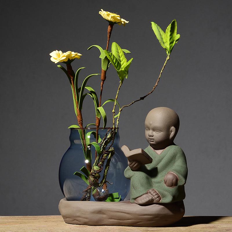 5.80元包邮创意小和尚玻璃插花瓶陶瓷摆件水栽养植物办公桌面绿萝水培容器