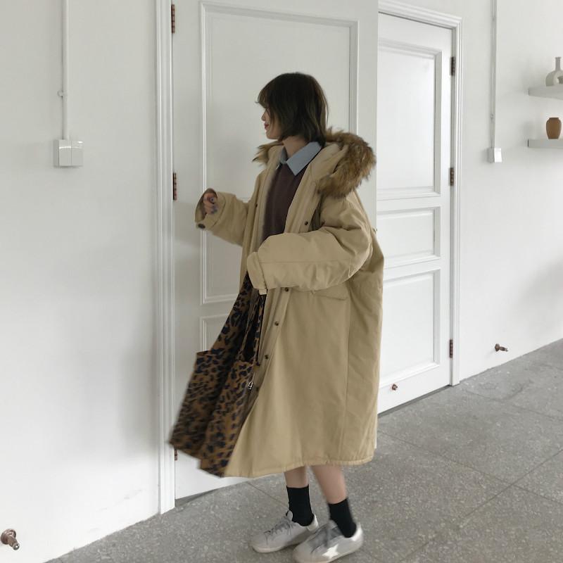 实拍实价 宽松大毛领工装棉衣中长款连帽长袖棉服棉袄外套