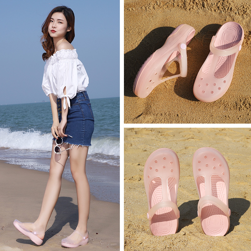Cave shoes women ins tide summer thick bottom anti slip nurse sandals soft soled jelly shoes lovely beach shoes Baotou slippers