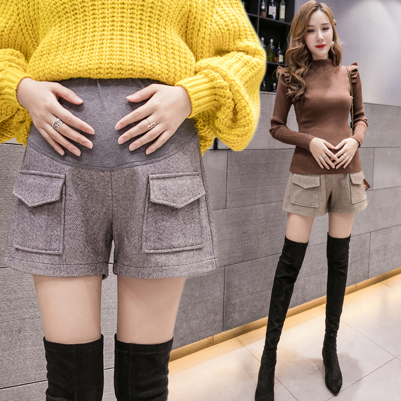 Woolen pregnant womens shorts autumn and winter wear 2020 fashion loose wide leg belly support underpants Chaoma winter boots