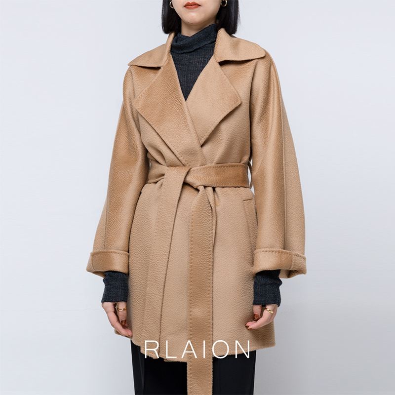 M@xMa *A classic return style Lapel gas water ripple thickening double sided cashmere wool short coat for women