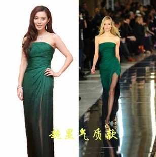 Buyers show physical map Fan Bingbing big long section was thin waist was elegant dark green bridesmaid dress