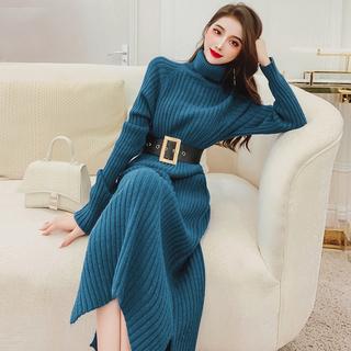 飞姐定制打底高领宽松显瘦毛衣裙冬装2020年新款女气质针织连衣裙