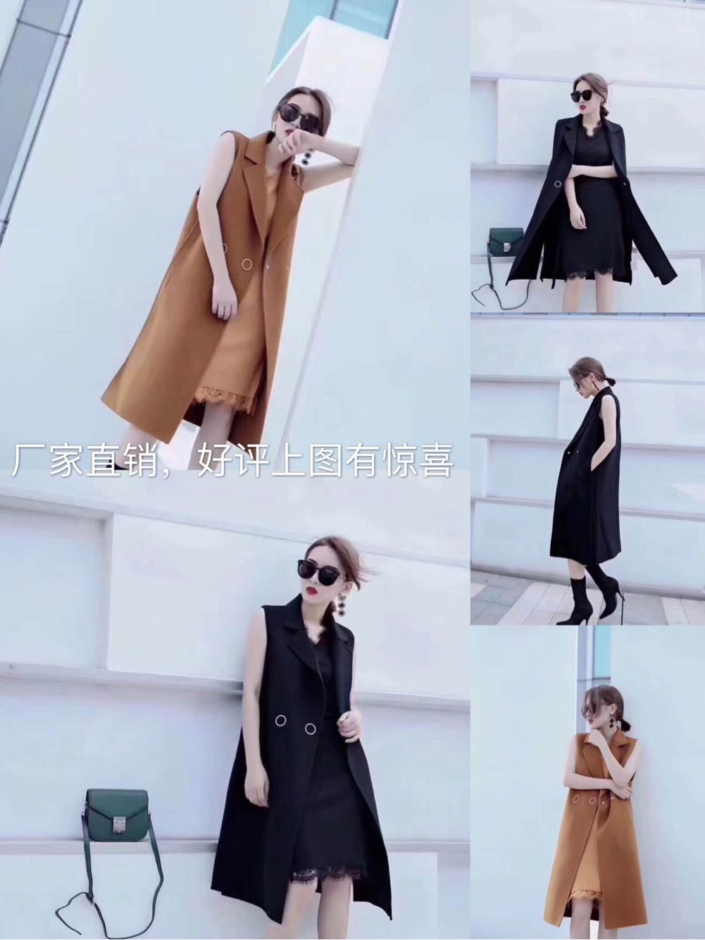Han ins 2019 new autumn / winter double faced wool medium long coat with metal circle button