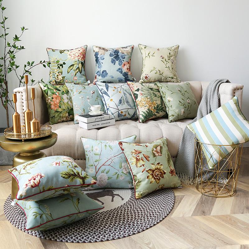 沙发清新田园风客厅棉麻靠枕套抱枕