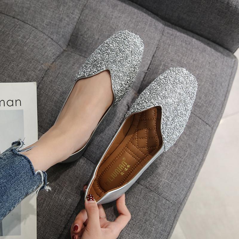 瓢鞋女春秋单鞋伴娘鞋晚晚鞋网红平底秋鞋豆豆鞋40 41-43大码女鞋