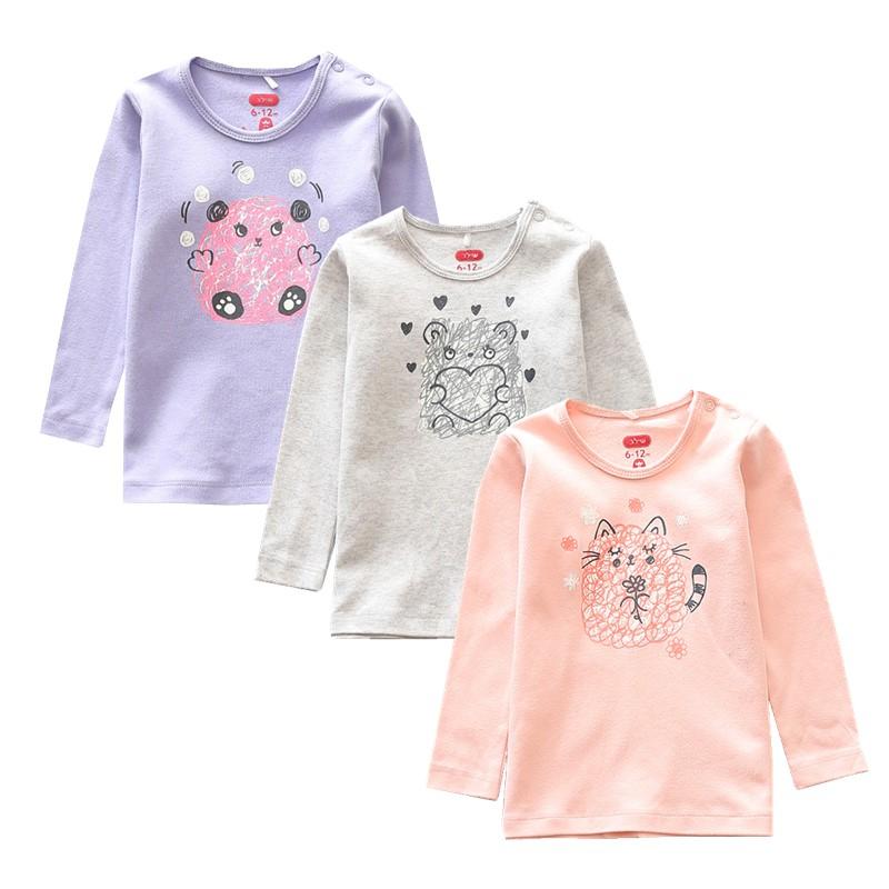 0-24个月婴幼儿长袖上衣宝宝纯棉套头圆领T恤线条动物肩开扣卫衣