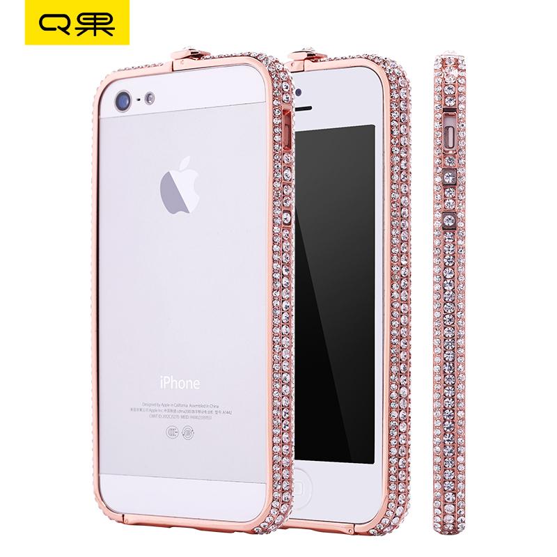 Q果 蘋果5手機殼 iphone5s手機殼 iphone5金屬邊框水鑽5s帶鑽