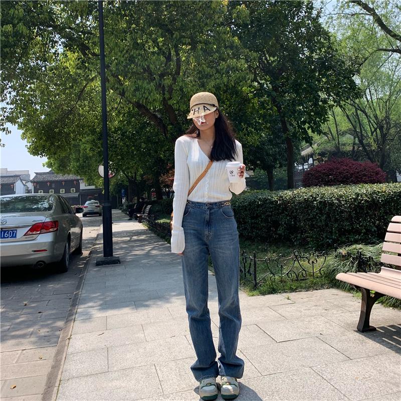 ABOUT RAY2020春季新款满屏都是大长腿 凯旋裤高腰显瘦宽松牛仔女