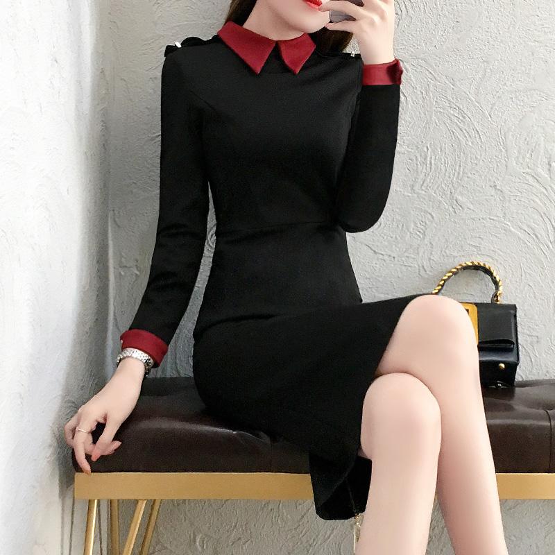 长袖秋冬打底连衣裙女加绒冬季2018新款收腰职业包臀裙中长款内搭