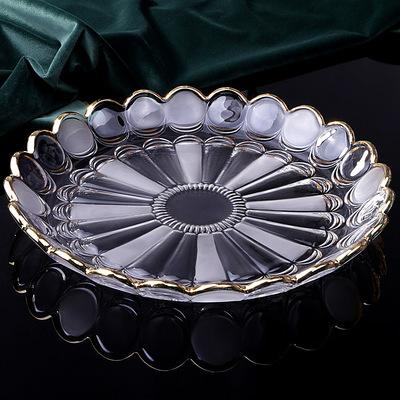 创意时尚欧式描金水晶玻璃果盘现代简约家用客厅水果果盘托盘套装