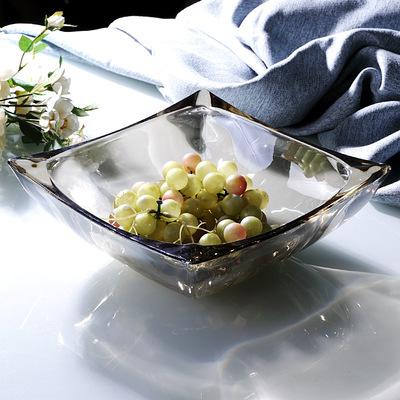 北欧式创意轻奢水晶玻璃现代简约网红方形大水果盘现代客厅家用