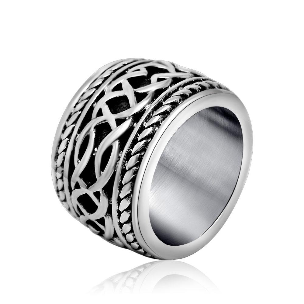 摇滚新款朋克哥系列复古Rock指环哥特式缠绕扳指配饰钛钢戒指手饰