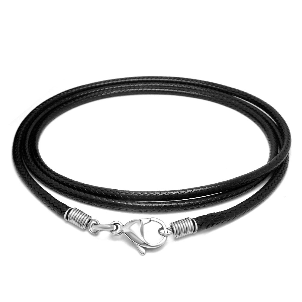Rock new Punk Gothic Black woven linen wax rope necklace pendant with chain naked chain and accessories Cotton hemp