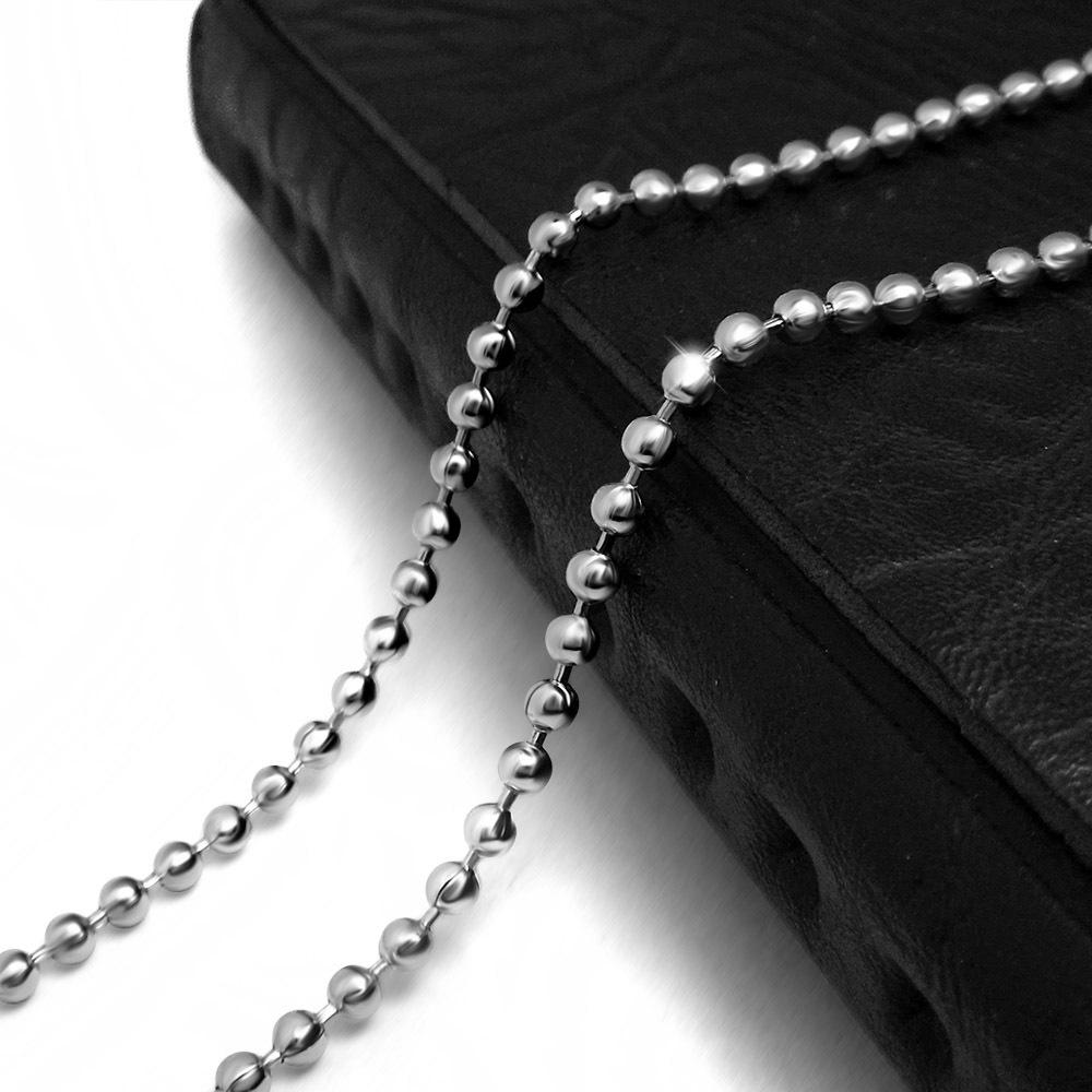 摇滚新款朋克复古哥特式圆珠配链酷炫吊坠裸链钛钢项链配饰品爆款