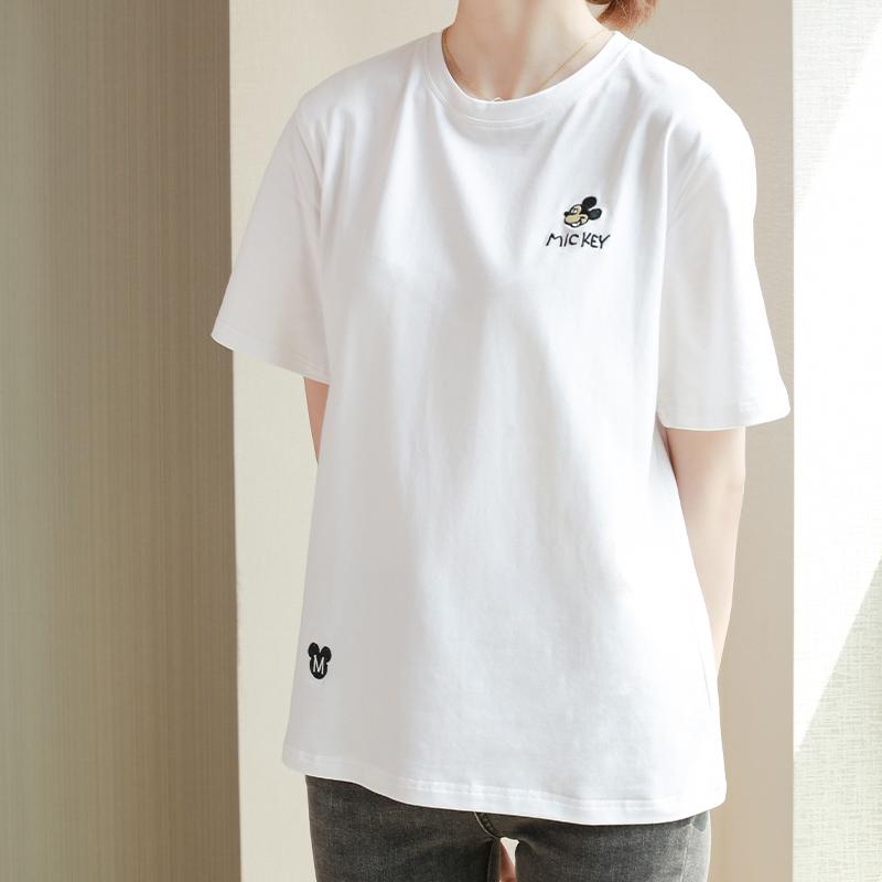 2021夏季原创新款白色纯棉短袖t恤女宽松显瘦刺绣字母印花体恤