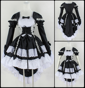 Cosplay Angel love princess dress cute maid service maid costumes black and white skirt dovetail