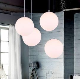 北欧LED灯 现代简约灯饰灯具 奶白球灯玻璃圆球吊灯 餐厅灯店面灯