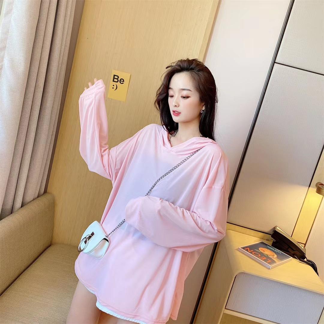 T-shirt womens new summer clothes womens Korean pure Hoodie long sleeve