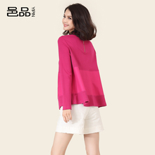 Yipin T-shirt with half-high collar and high waist spring dress 2019 long sleeve blouse with rosy red T-shirt