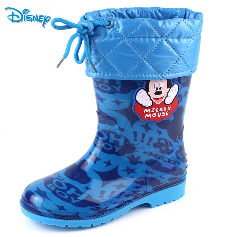 迪士尼兒童雨鞋雨靴 款寶寶加絨防滑保暖水鞋男童女童小孩膠鞋