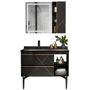 巖板輕奢浴室櫃組合現代簡約實木衞生間洗漱台智能洗手枱洗臉盆櫃