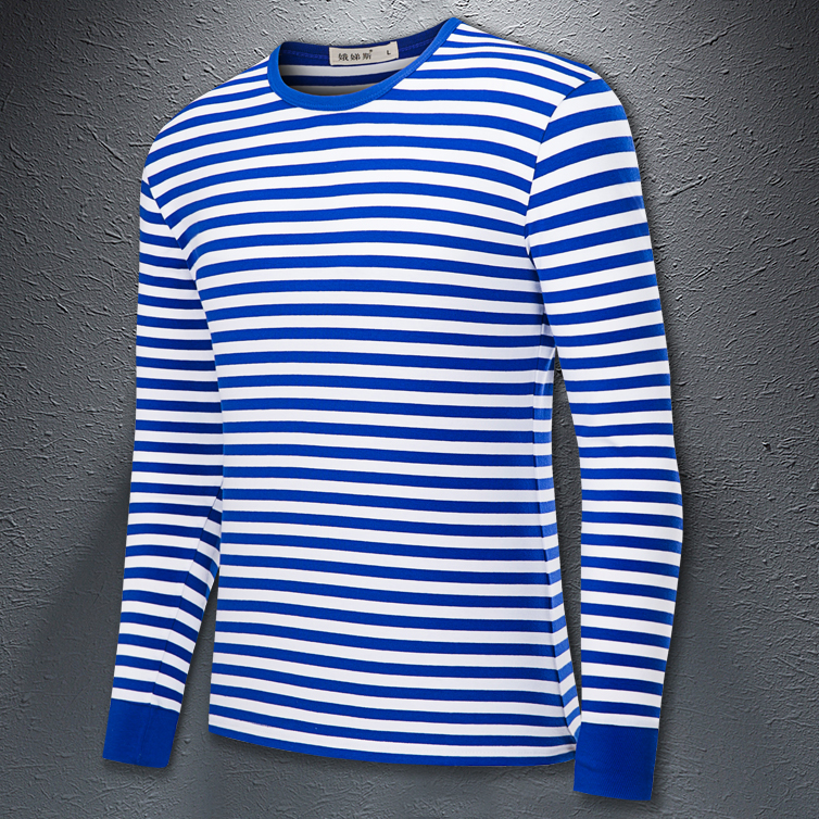 Eugene national sea soul shirt long sleeve t-shirt mens and womens blue and white stripe slim fit T-shirt couple Navy style bottom coat