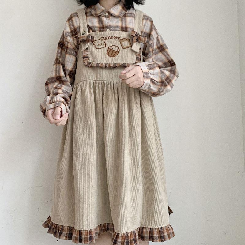 Autumn Japanese girl soft girl cute bear Student Korean version loose stitching Plaid Dress girlfriends dress Romper