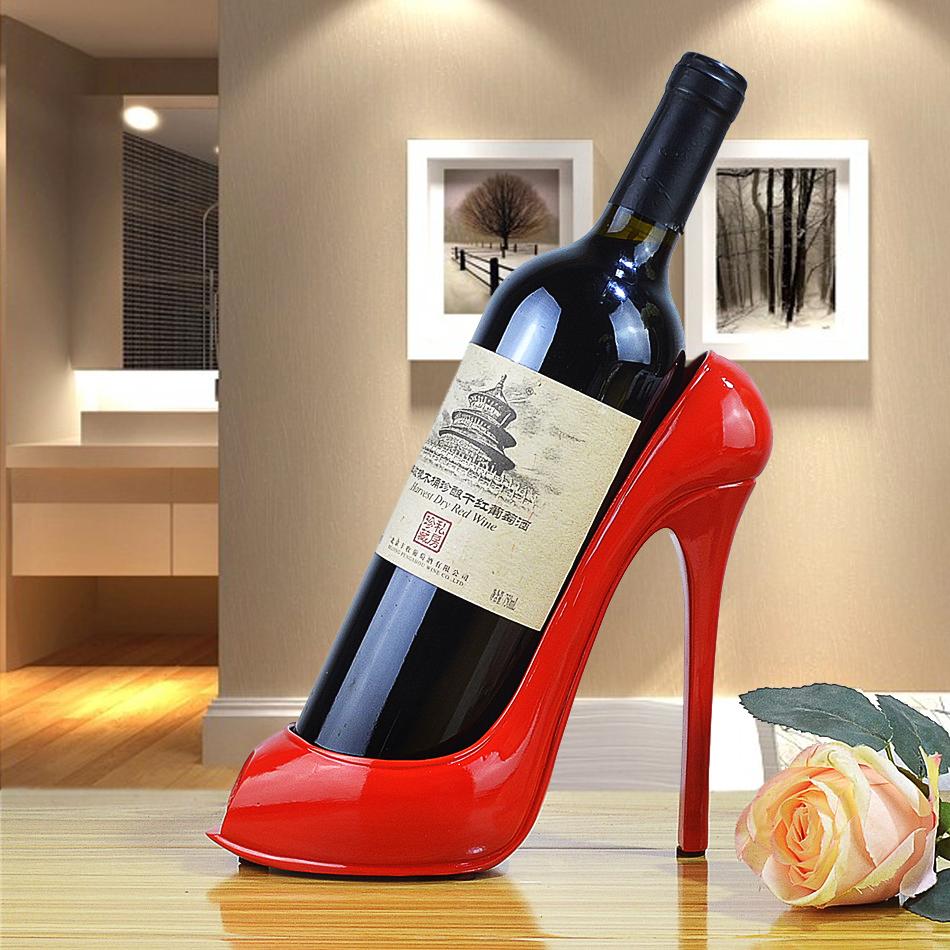 Creative red wine rack household decoration modern simple living room decoration high heeled shoes wine holder wine bottle rack