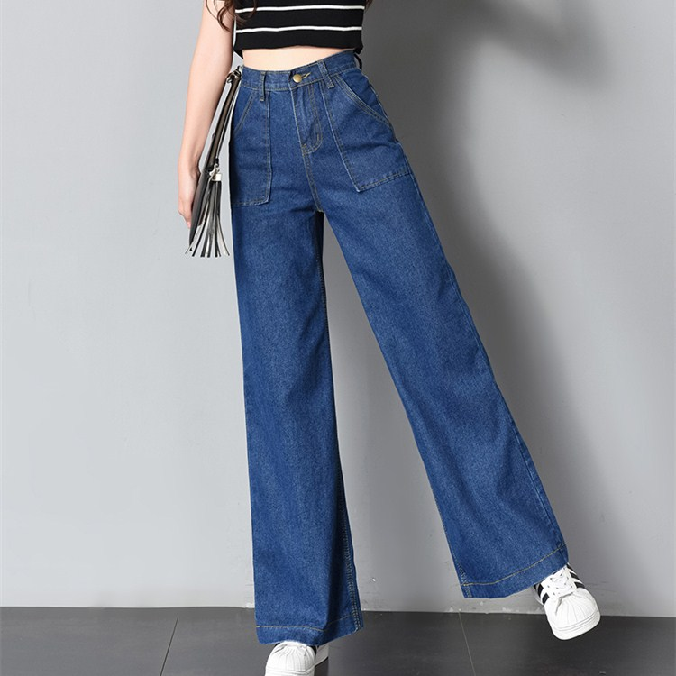 2019 new Hong Kong Style BF high waist loose jeans wide leg pants for female students