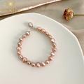 天然巴洛克珍珠粉紫色高级灰925纯银简约精致日常百搭手链闺蜜